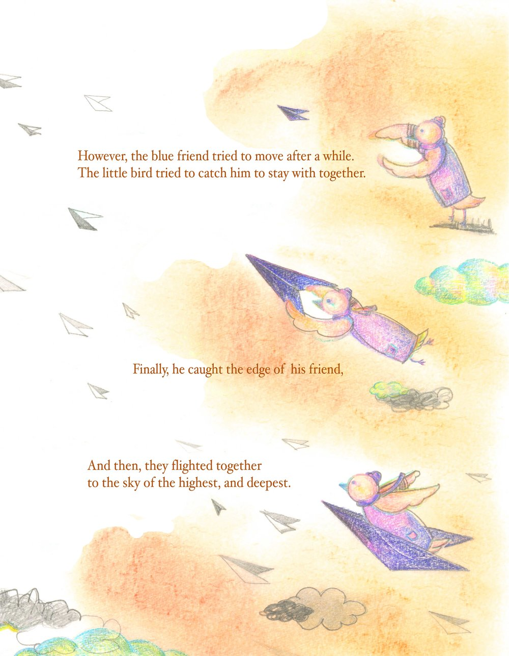 Right page of Page Spread - A Little Bird And A Blue Paper Airplane    Titled/ Written by Priyaa Lee  Illustrated by Priyaa Lee