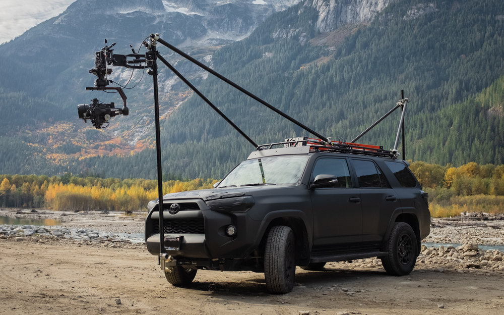 MEM's camera truck filming in Squamish BC with a Hawk 30mm C-Series Anamorphic lens and Red Epic-W camera body.