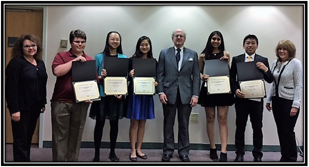 2017 Jan Trenholm Memorial Scholarships Winners with from left: Dana Krug, President; Sam Anklowitz; Audrey Gou; Susanna Kim; William Warren; Sri Narayanan; Kai Zheng; and Kathy Brennan, Vice President.