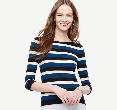 Ann Taylor Striped Bateau Sweater