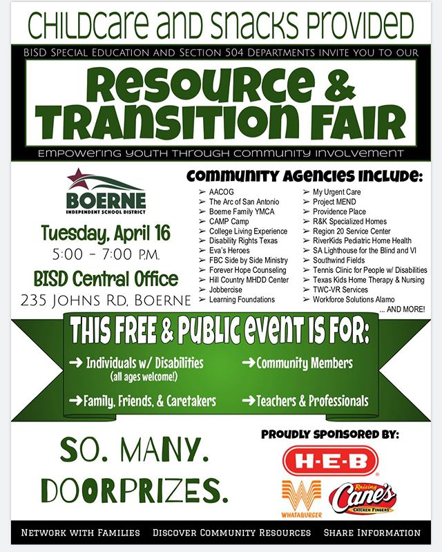 We are always excited to be a part of the Boerne ISD resource fair. Join us next Tuesday to learn more about us and the amazing services provided in the Texas Hill Country!
