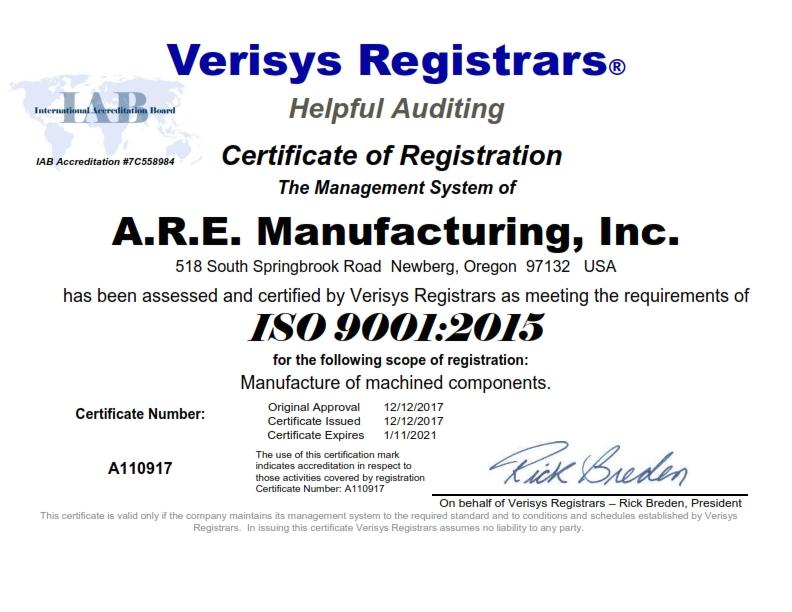 A.R.E. Manufacturing Inc. ISO 9001 2015 Certificate 12-12-2017_001.jpg