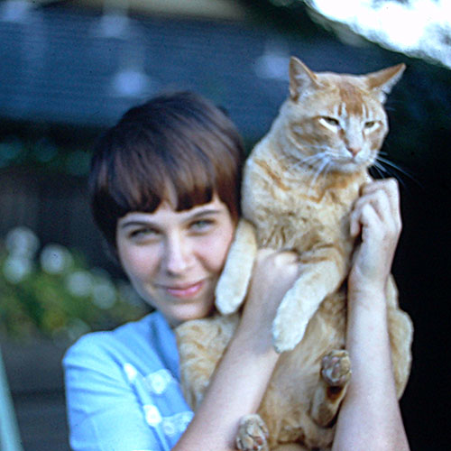 Leigh with the family cat, Homer, age 12.