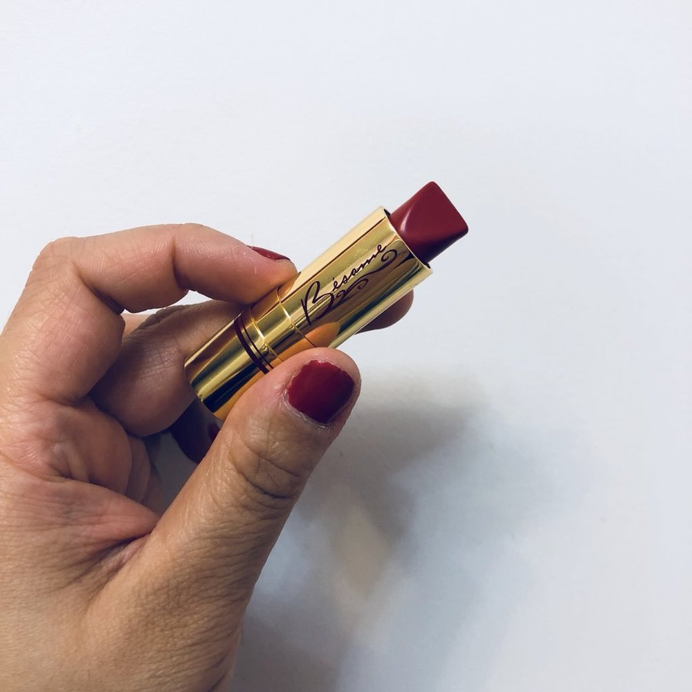 Pictured: Besame Red Lipstick. Please excuse my nails!