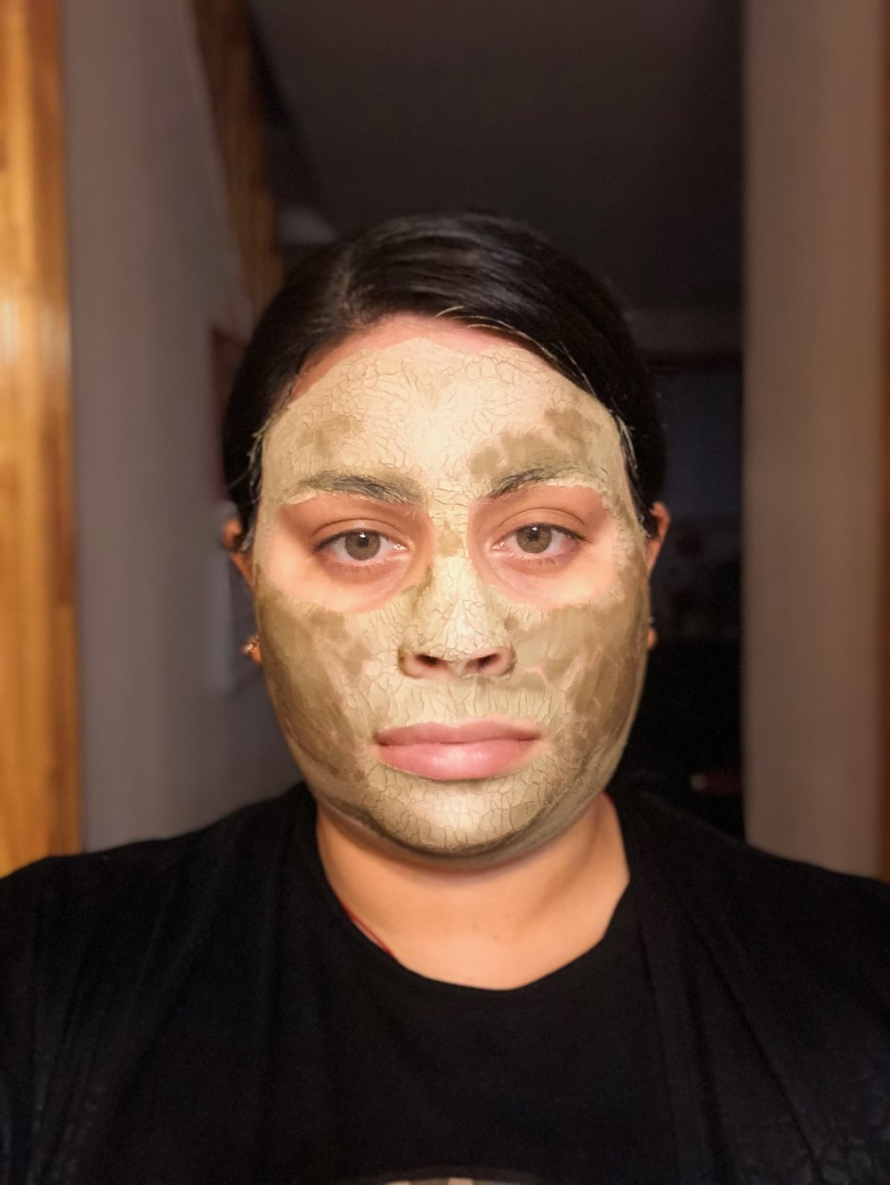 You can see the clay mask drying. Can't feel my face!