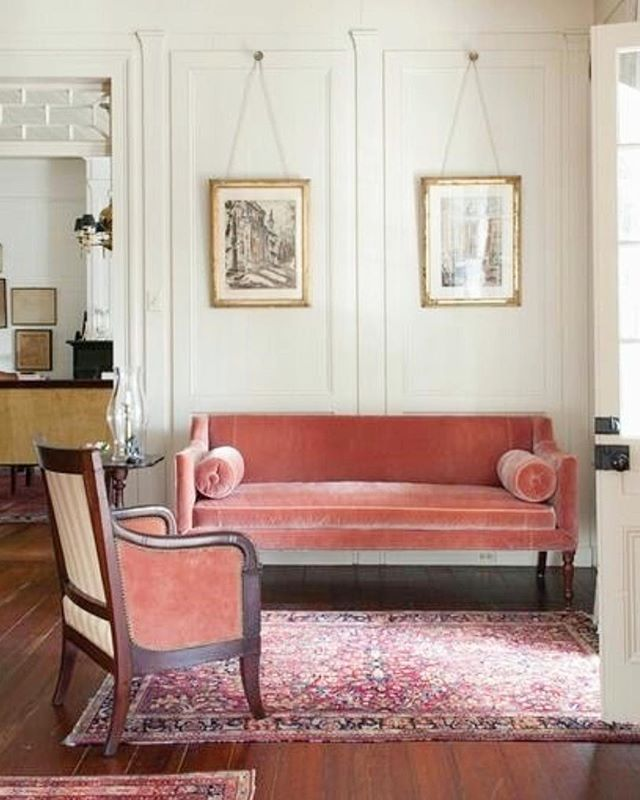 Pink is it is such a smart, sophisticated, classic colour and far from girly if applied in the right manner - we absolutely love this dusty pink velvet furniture combined with dark wood floors and painted panelled walls • • • • • #interiordesign #interiordesigner #interiors #interiorstyle #interiorstyling #interiordetails #homedecor #decoration #pink #pinkinteriors #pinkvelvet #velvet #velvetsofa #velvetfurniture #darkfloors