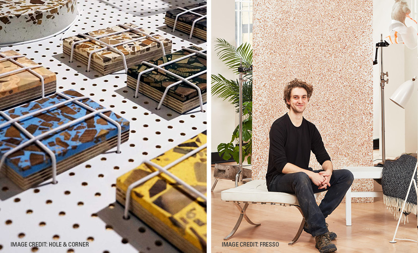 Foresso Foresso uses waste wood chips in resin and crafts them to a stone-like finish