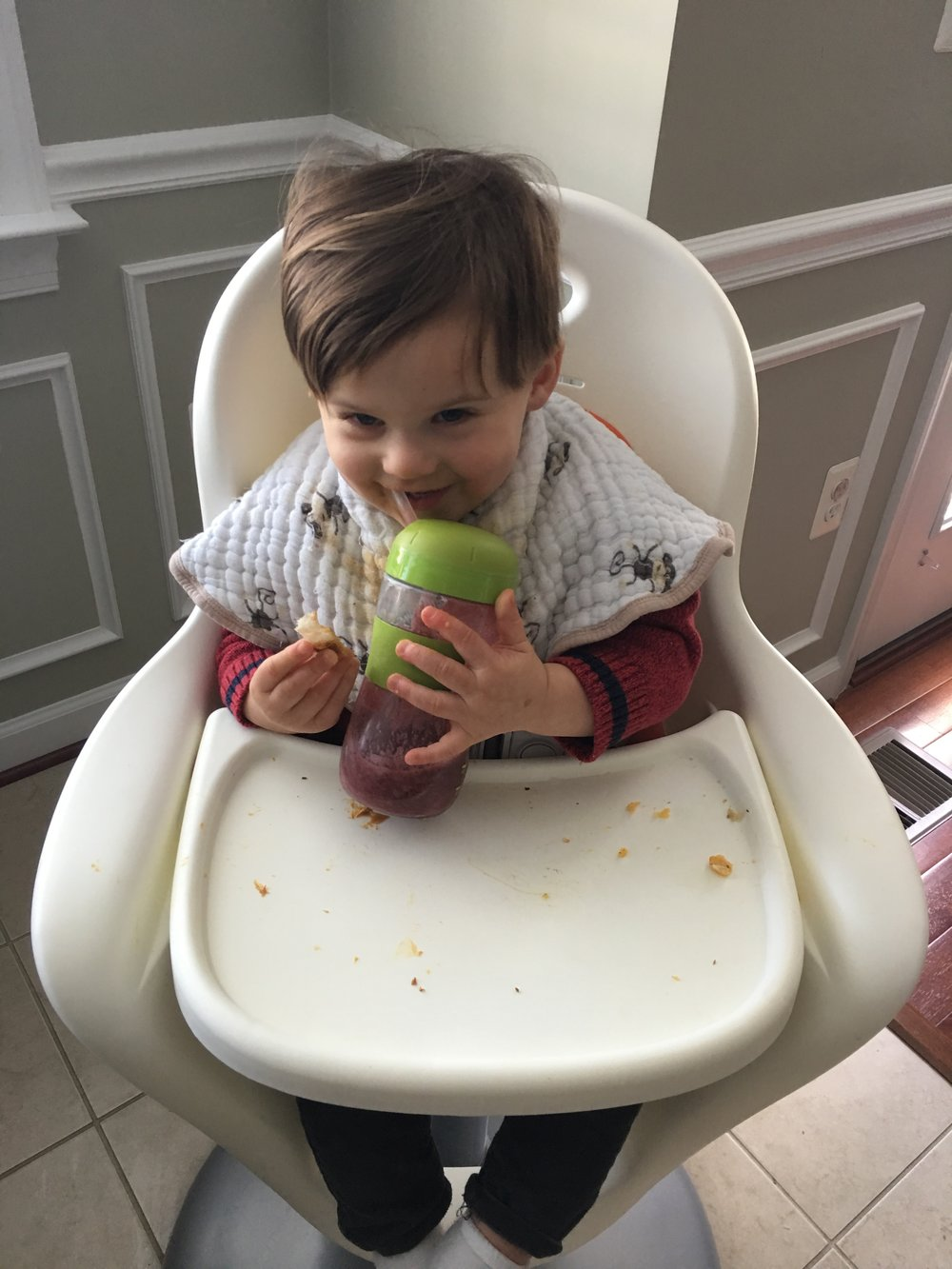 Brayden is enjoying his smoothie today.