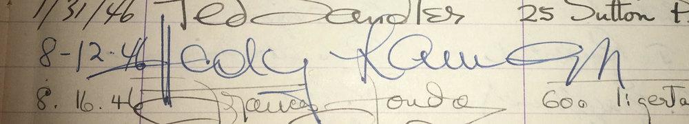 Hedy Lamarr's signature in Joseff's studio guest book dated 08/12/1946