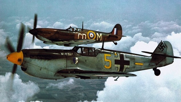 "A Spitfire and Hispano Buchon during filming of ""The Battle of Britain""."