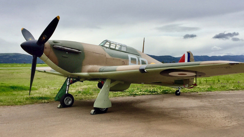 Hurricane VH-JFW pictured the day prior to it's first post-restoration flight.