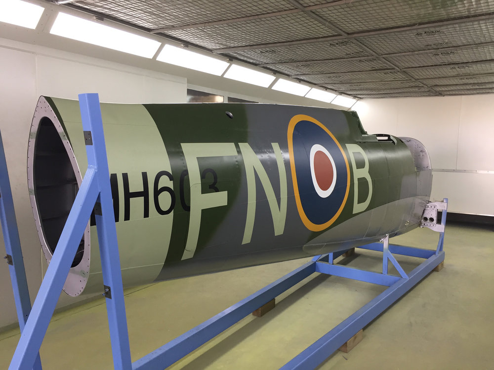 Fuselage in the paint booth after application of markings