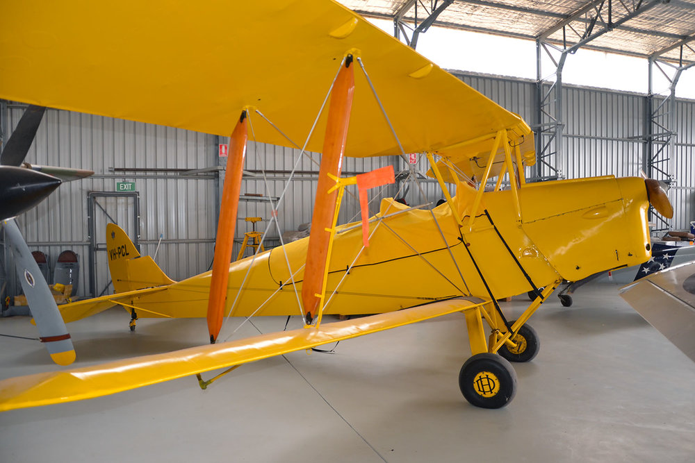 DH aircraft, DH82 Tiger Moth in the hangar at Pays Air Services, Scone NSW