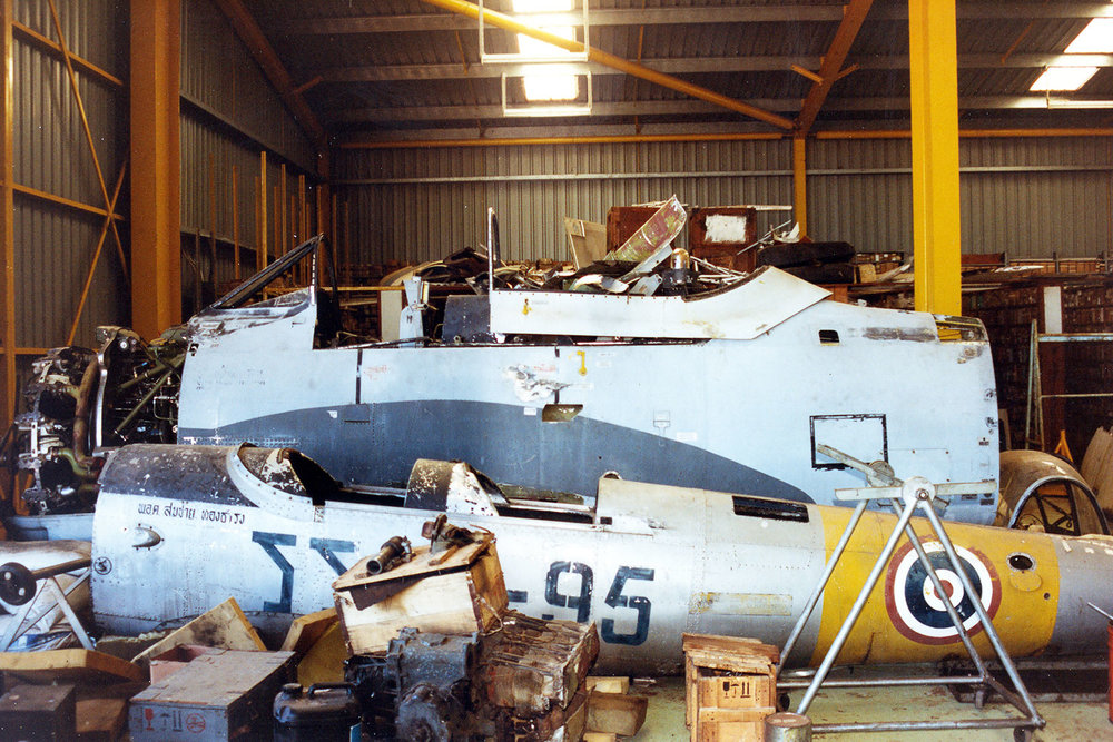 DHC11 Chipmunk VH-AMV at Col Pay's storage in the 1980s