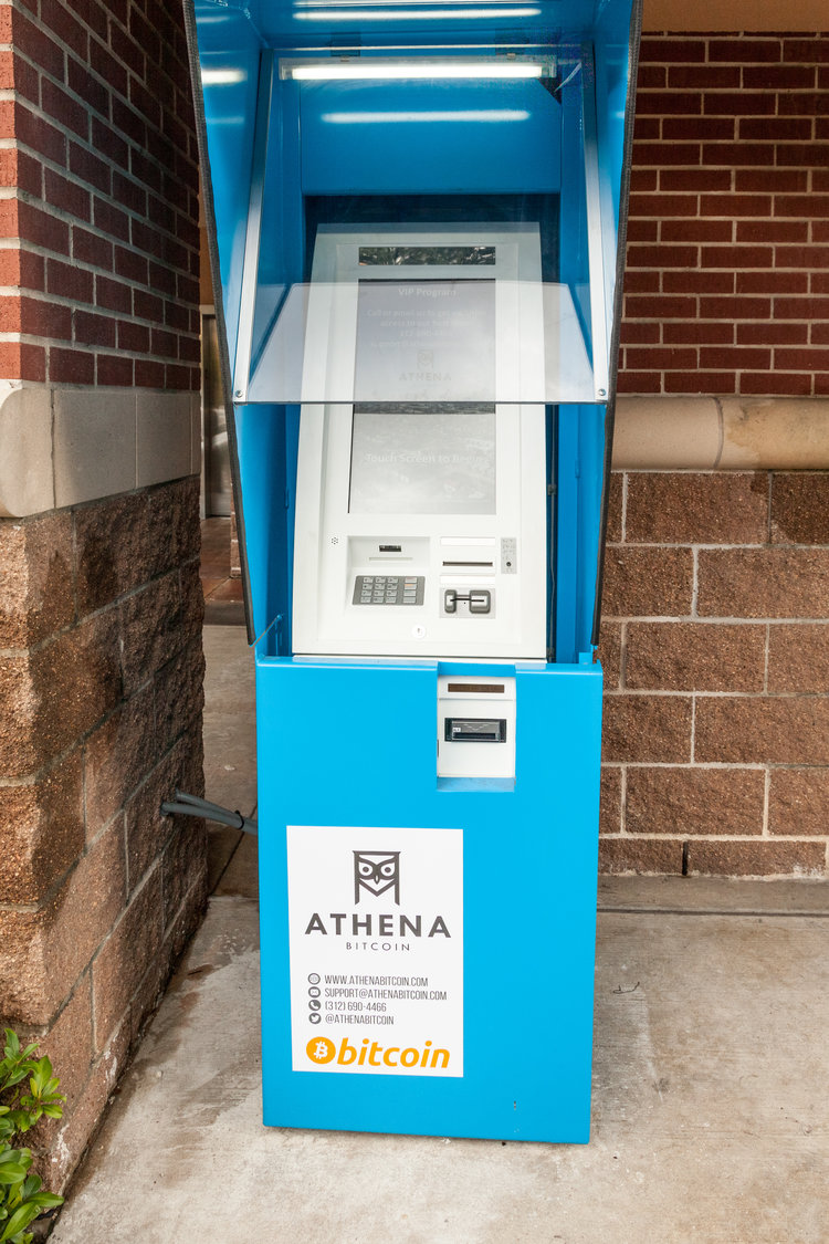 You can recognize an outdoor 24-7 Athena Bitcoin ATM by the distinctive & sturdy blue enclosure.