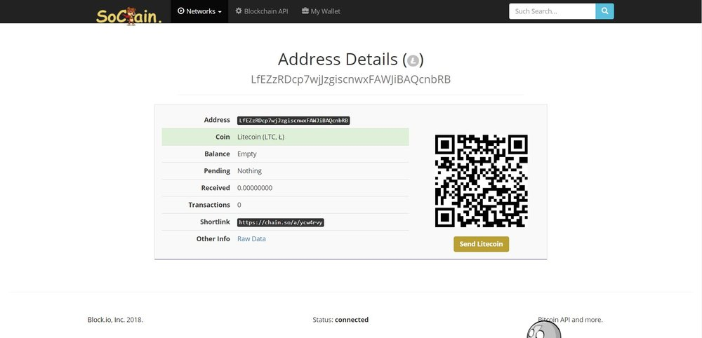 Empty LTC address