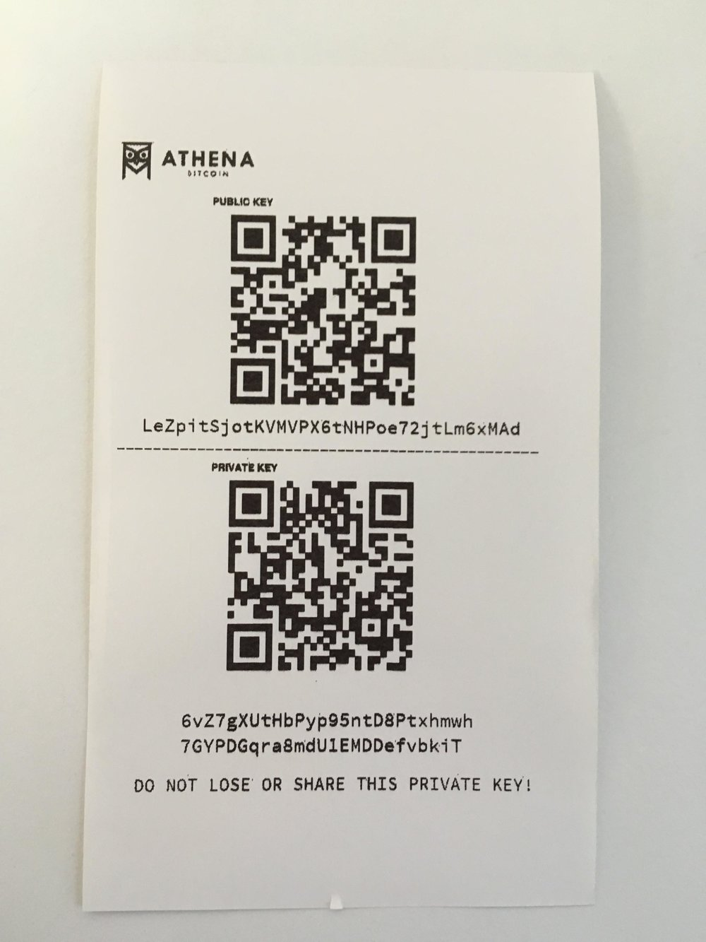 Athena  Litecoin  Paper Wallet - Note that the public address begins with  L  and the private key begins with  6