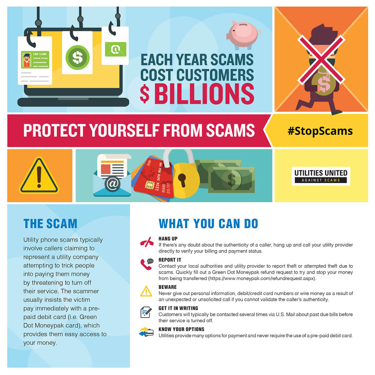 Watch out for utility scams! (Do not pay electric/heating bills with