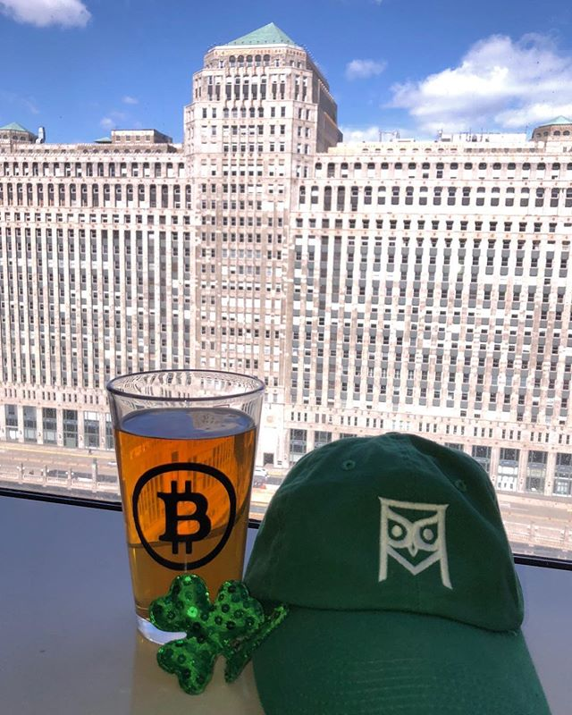 Brews, views, & #Bitcoin  This is the view above the #chicago river from our office.  #HappyStPatricksDay  #ViresInNumeris
