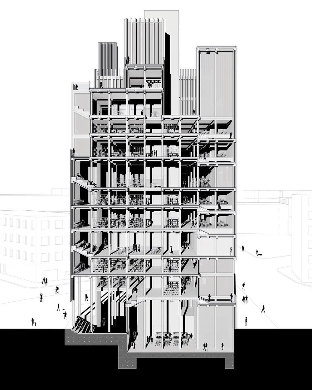 "Shared by:  @uscarchitecture  ・・・ Recent graduate Ryan Wong's  @ryanwhwong  (B.Arch '18) ""Pixel"" was part of a comprehensive studio that proposes mass timber as a potential structural material for mid-rise towers in Los Angeles. This project offers a new type of office tower in response to the emerging office style of co-working spaces, and in turn challenges the traditional ""pancake slabs"" office typology. Situated in the Arts District, this project began by first ""pixelating"" the site to rationalize the irregular geometry, then extruding slender ""tubes"" of various heights and facade densities from the pixelation in order to exaggerate the verticality of the building."