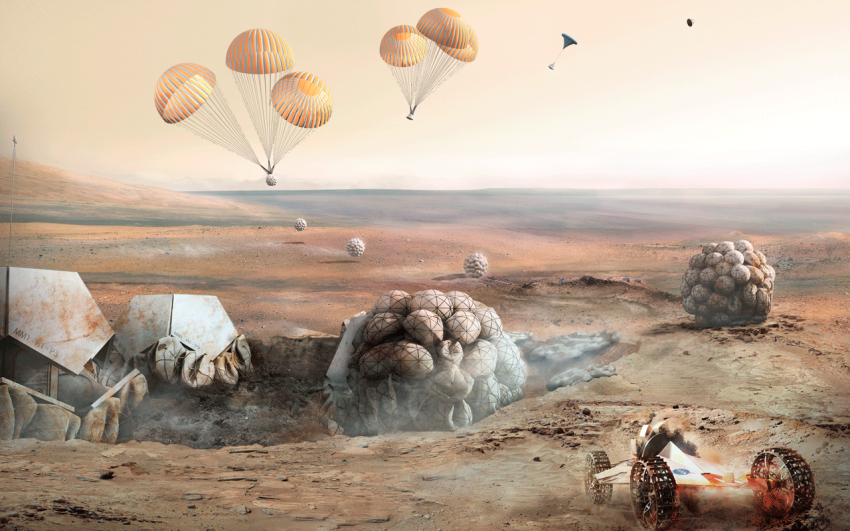 Robots parachuting to the surface of Mars.
