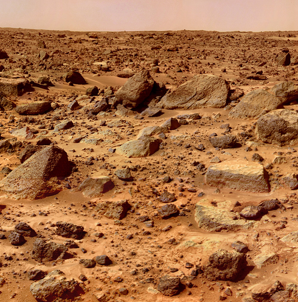 Mars surface with rocks everywhere by Mars Pathfinder.  Source.