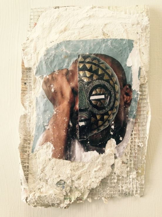 "Christopher E. Harrison, Masquerade II, 2014, Plaster, Collage on Chicken Wire, 11""x14"""