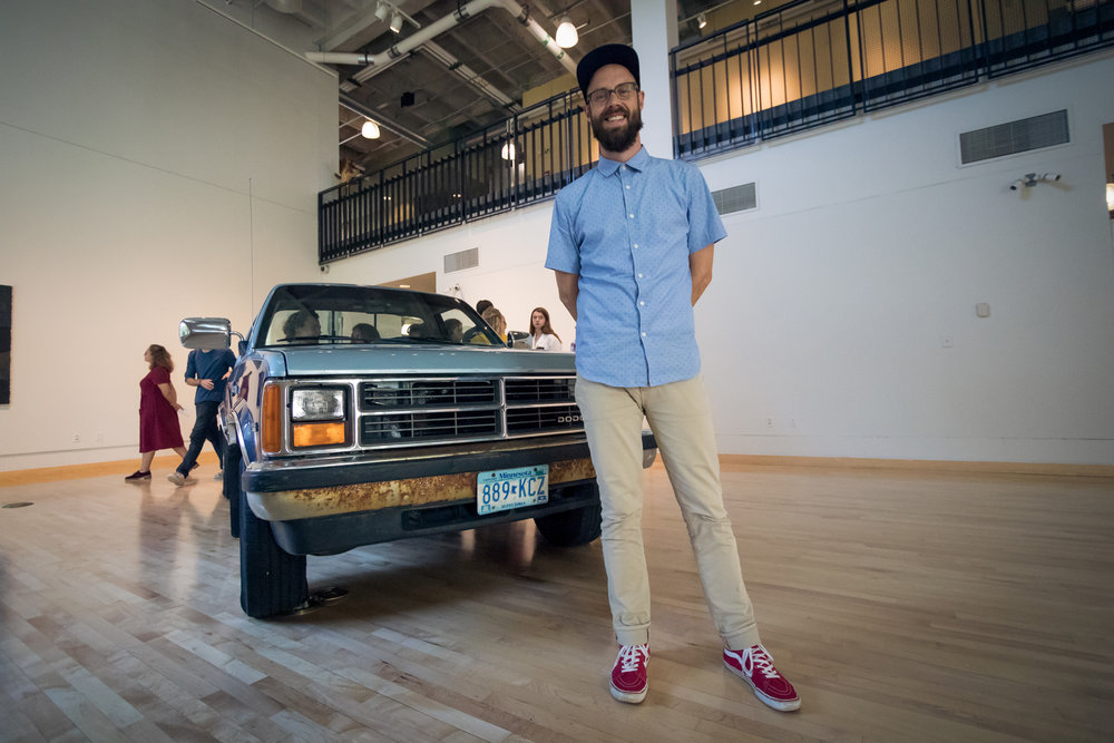 Image of artist with truck and audio installation
