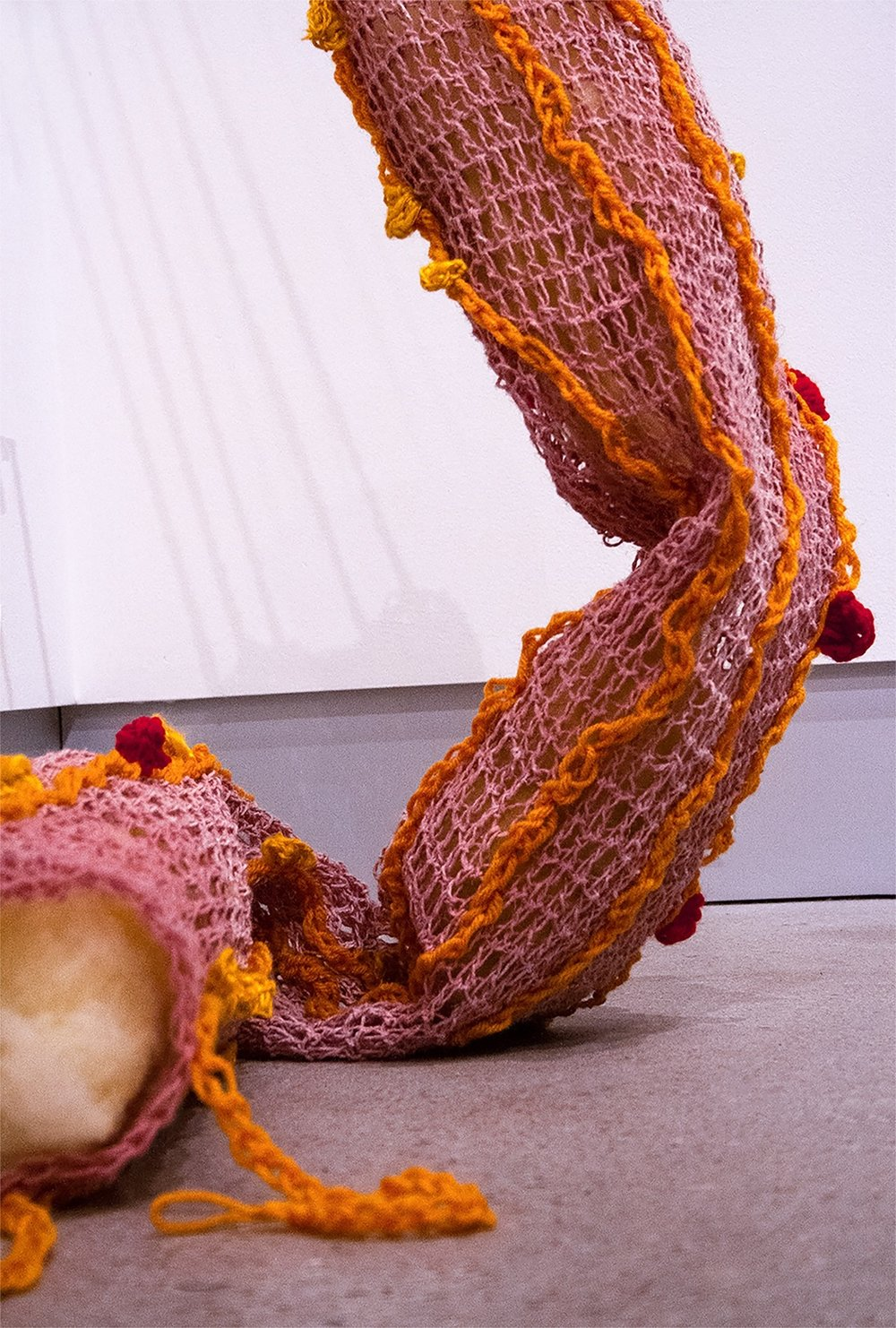 Alexander,  yarn, wool, polyester fiber, and glue, 3.5' x 3' x 6', 2018