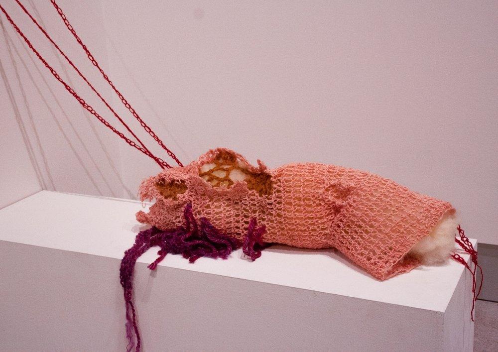 Charlie,  yarn, wool, polyester fiber, and glue, 1.5' x 3' x 3', 2019
