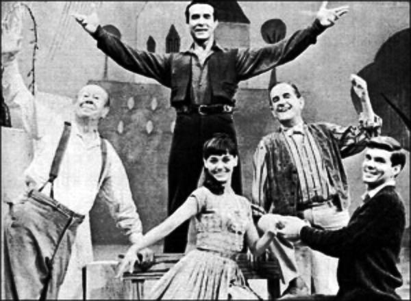 1964 HALLMARK HALL OF FAME BROADCAST of THE FANTASTICKS with Bert Lahr, Susan Watson, Stanley Holloway, John Davidson and Ricardo Montelbahn (standing center rear).
