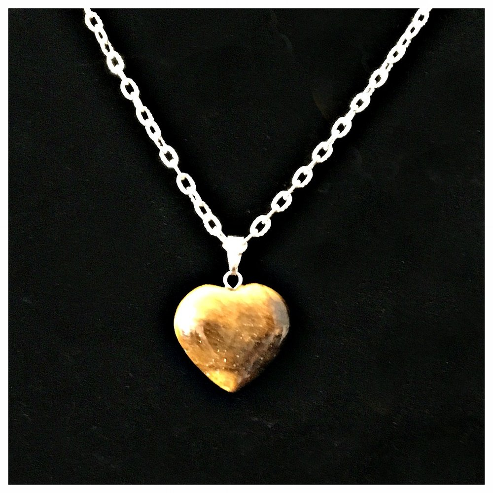 Tiger's Eye - Heart pendant necklace 18