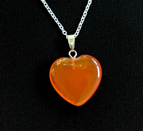 T angerine Quartz heart pendant necklace