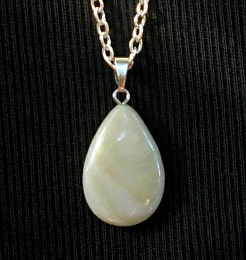 Yellow Banded Agate Flat Drop Pendant
