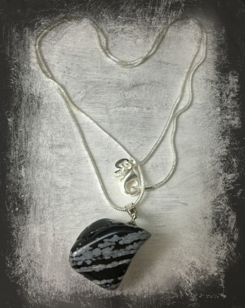 Snowflake Obsidian  natural cut pendant