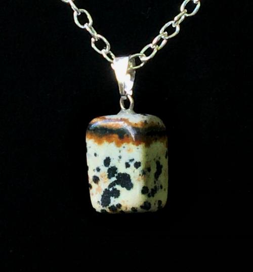 D almatian Jasper natural cut pendant