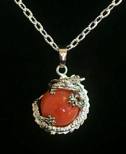 Red Agate Dragon Ball Pendant