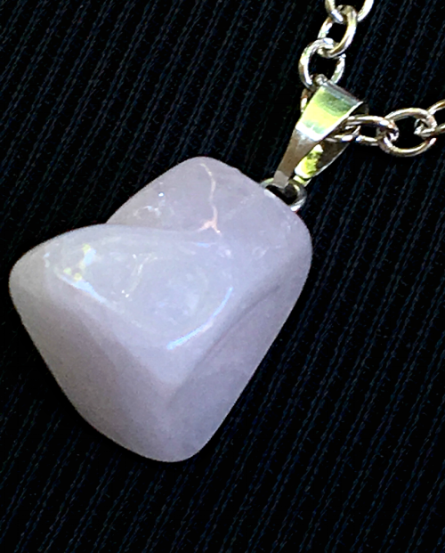 Pink Chalcedony natural cut pendant