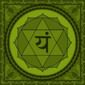"Anahata Chakra  Mantra: ""Yam"" or ""Ah""  Color: Green"