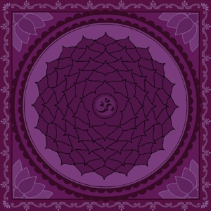 "Sahasrara Chakra  Mantra: ""Om""  Color: Purple"