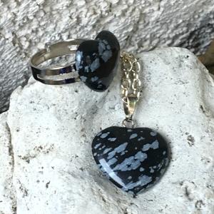 Snowflake Obsidian necklace set