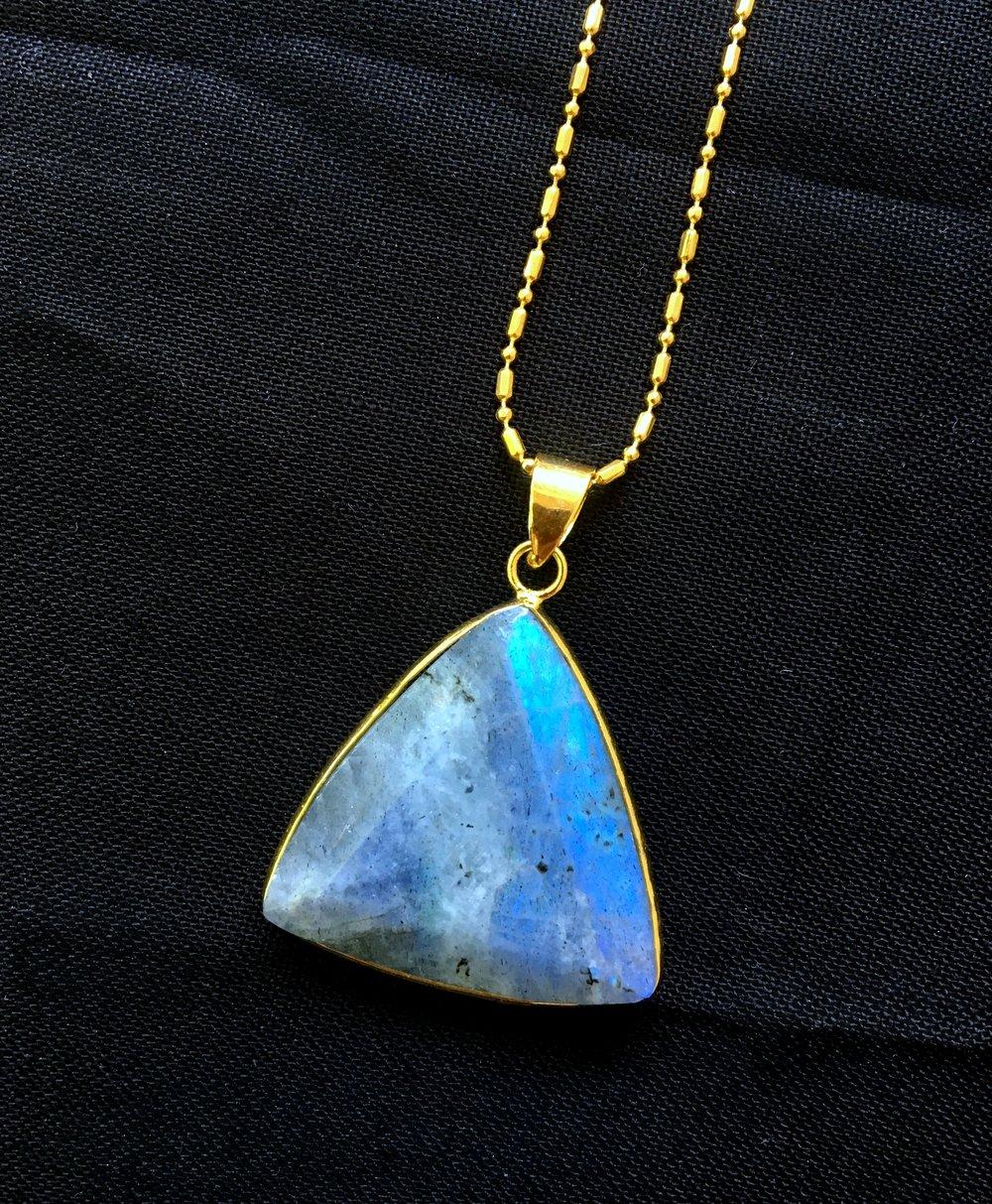 Labradorite gemstone Triangular necklace