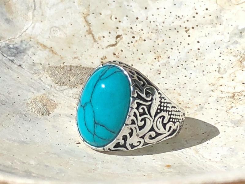 d42efbdc7e2ef Men's Turquoise Howlite Gemstone Ring size 9 - Loyal Royal
