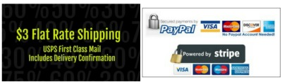 $3 Flat Rate Shipping! Secure payments through PayPal and Stripe.