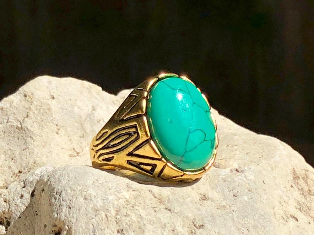 Blue-green Howlite Strong as Pine ring.jpg