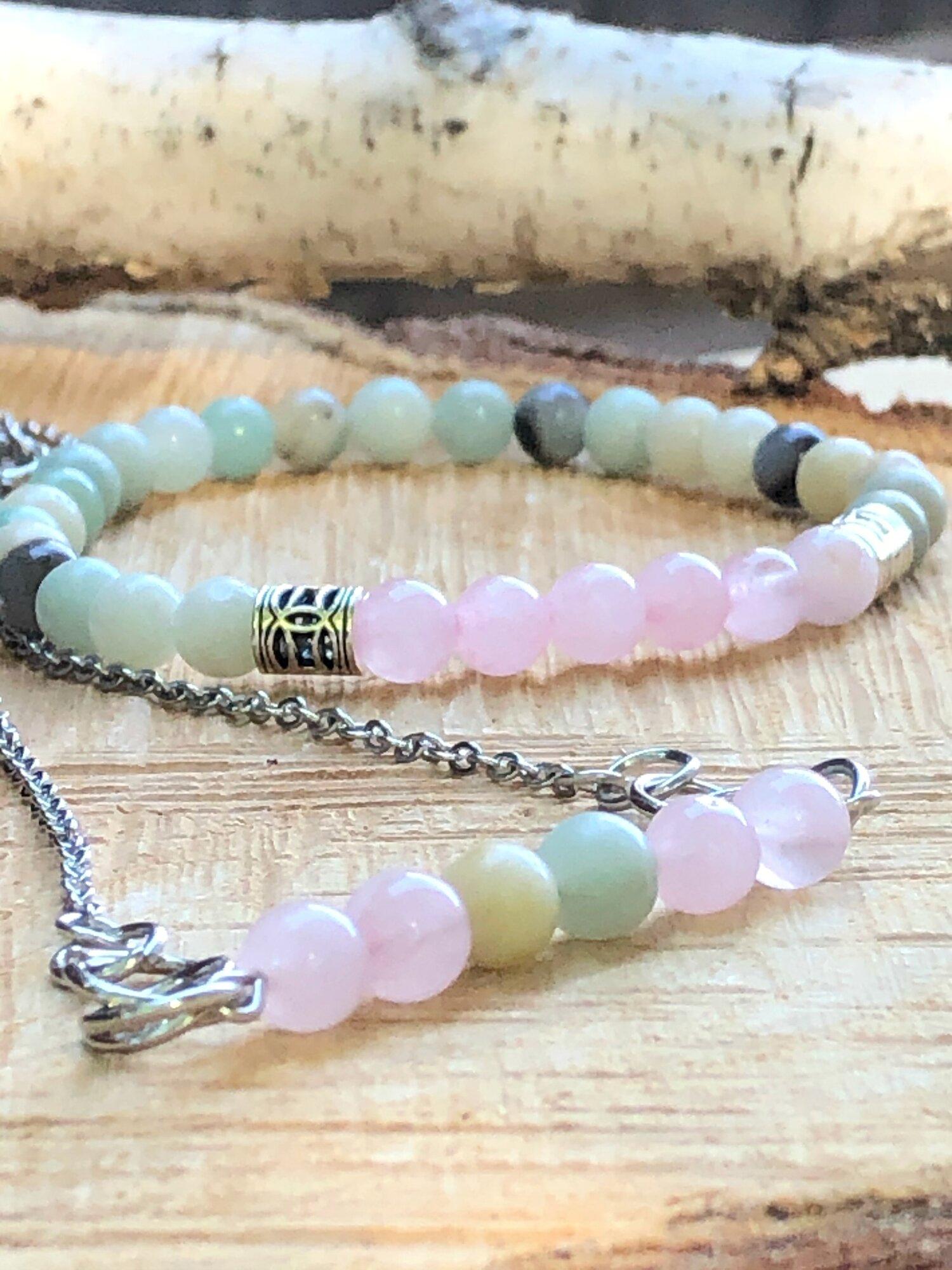 Rose Quartz and Amazonite Beaded Gemstone Necklace