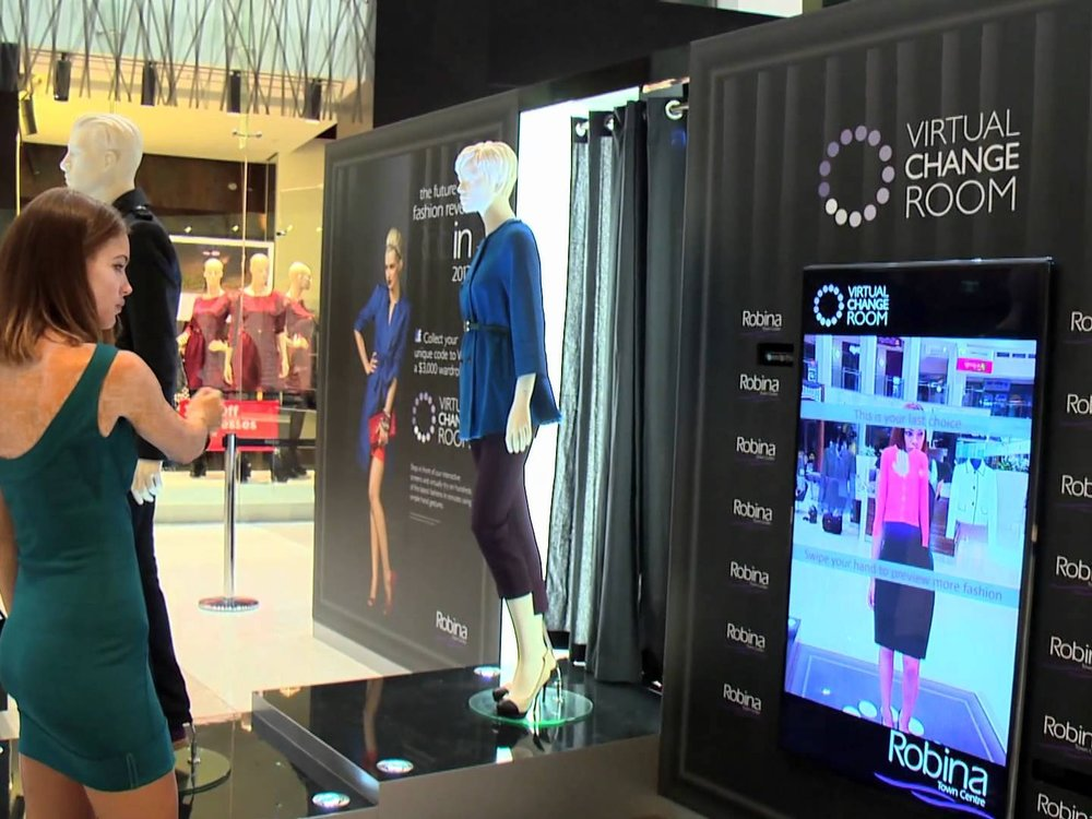 Robina Town Centre - Virtual Change Room - Robina Town Centre and Hatch partnered to bring Gamification to retail, creating a first in Australian shopping experiences.The Virtual Change Room.  Leveraging the power of Microsoft Kinect, the Virtual Change Room visualises people in three dimensions, using augmented reality elements.