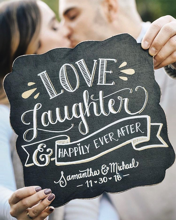 Small his & Her chalkboard with quote •  perfect for engagement photo shoots & Gifts
