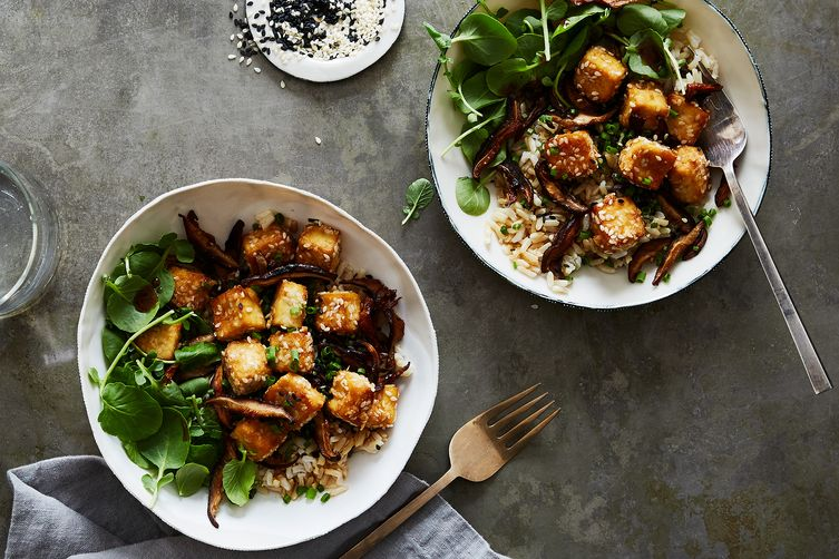 Crispy Sesame Baked Tofu & Shiitake Mushrooms  (Bobbi Lin - Food52)