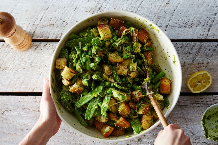 Spring Vegetable Panzanella with Poached Eggs  (James Ransom - Food52)